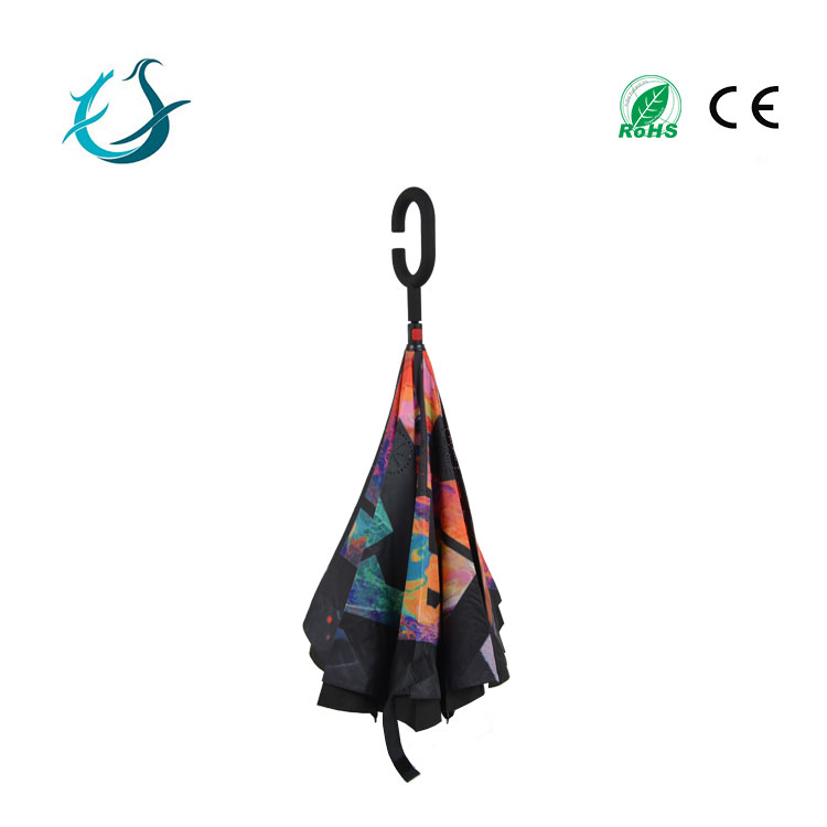 Promotional high quality waterproof inverted upside down car reversed umbrella