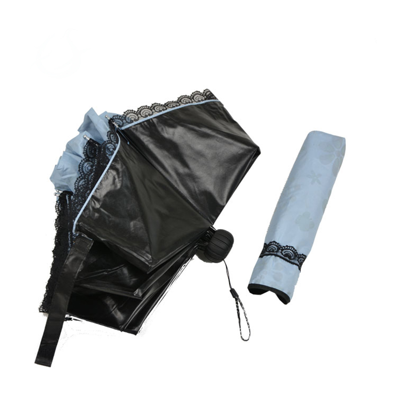 19 inch folded anti-uv black coated 3 fold travel umbrella